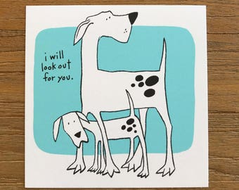 Tiny Art Print Cute Funny Dog Cartoon Illustration - Lookout For You