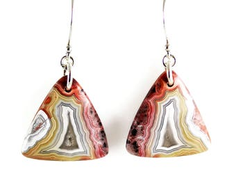Crazy Lace Agate Earrings - Sterling Silver - Agate Earrings - Natural Stones