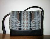 CUSTOM ORDER for Tess Wool Bag Purse Shoulder Bag Black Leather Blanket Wool from Pendleton Oregon