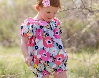 SALE Baby Playsuit Pattern Peasant style 0 months through 5t PDF downloadable