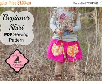 SALE Girls Skirt Pattern Tutorial Templateless  sizes 3m - 16 girls with pockets PDF Instant