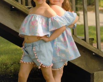 Girls Off The Shoulder Top Dress sewing tutorial PDF newborn through 16 teen girls