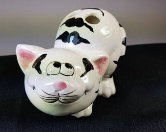 Vintage Ceramic Pottery Cat Figurine Toothbrush or Pen Holder 1980's