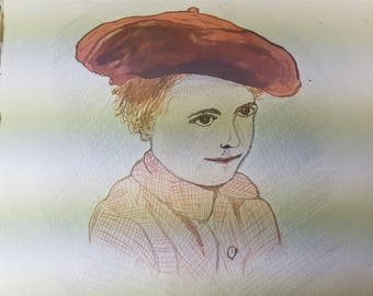 Vintage Watercolor Painting Illustration on Paper Original Art Signed and Dated 1916 Scottish Boy in Tam O Shanter Hat Cap