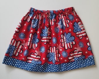 4t Patriotic Skirt 4th of July Skirt Girls Skirt Red White and Blue toddler skirt Patriotic Flowers US Flag Skirt with Stars Ready to Ship