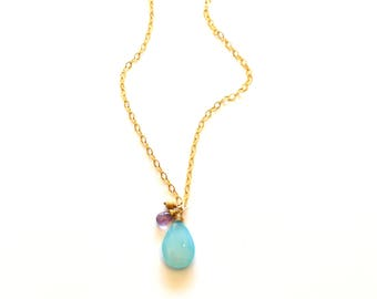 Cluster Charm Necklace / Smooth Turquoise Blue Chalcedony / Purple Amethyst Pendant Necklace / Chalcedony Purple Amethyst Wedding Necklace