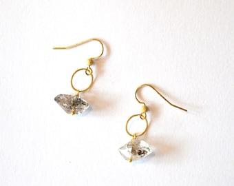 Herkimer Diamond Hoop Earrings / Simple Modern Geometric Minimalist Herkimer Diamond Gemstone Pendant Earrings with 14k Gold Filled Findings