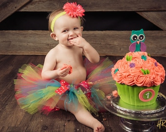 1st Birthday Tutu - Baby Girl 1st Birthday Diaper Cover - Flower Headband - Hot Pink, Lime and Turquoise - Cake Smash Outfit