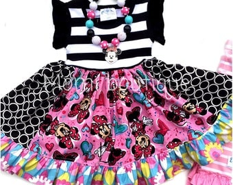 Disney Minnie Mouse dress birthday party dress World land Minnie Bowtique Momi boutique custom dress