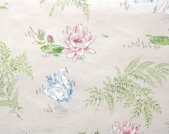1940s Vintage Wallpaper by the Yard - Pink Water Lilies and Blue Swans Bathroom Wallpaper