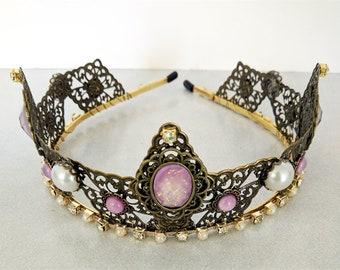 Renaissance Tiara, Crown, Medieval, Renaissance Jewelry, Tudor, Headpiece, Headdress, Renaissance Crown, Antiqued Brass, Ready to Ship