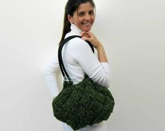 Shoulder Bag Knitted in Marl Green Wool