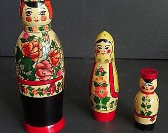 Tall Nesting Dolls Babushka Matryoshka 3 Made in USSR Label