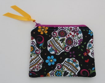 Small Zipper Pouch Skull Day of the Dead Print