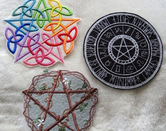 Style Choice - Large Machine Embroidered Pentacle Star Zodic Patch Badge Iron On