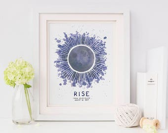 Total Solar Eclipse Art Print / Watercolor / Art Print / Solar Eclipse 2017 / Solar Eclipse Gifts / Gifts for Her / Solar Eclipse Art / Moon
