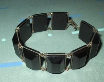 Vintage Art Deco Black Galalith Faceted Panel Bracelet