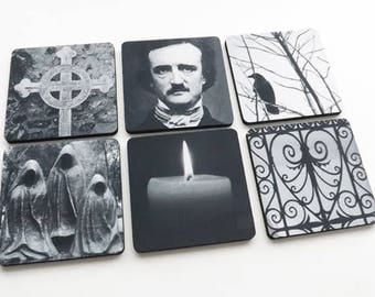 Edgar Allan Poe Coaster Halloween hostess gift party favor goth decorations trick treat spooky macabre cemetery raven gothic decor mug mat