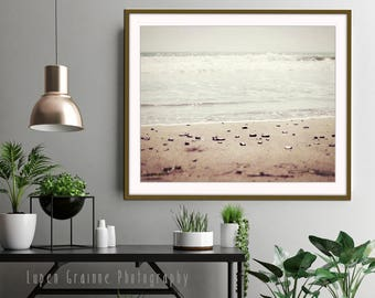 "Minimal Beach Print, Neutral Wall Art, Beige Brown Tan, Bathroom Wall Art, Minimal Beach Landscape, California Beach Art ""Pale Shore"""