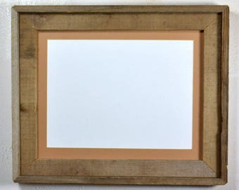 "Picture frame with 9"" x 12"" tan mat recycled wood complete ready to ship 20 mat colors available"