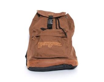 EASTSPORT brown nylon 80s 90s BACKPACK drawstring unisex RUCKSACK