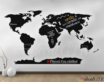 World Map Wall Decal with Antarctica - World Map Wall Art Dry Erase Chalkboard Vinyl Decor Sticker erasable white black board - K442