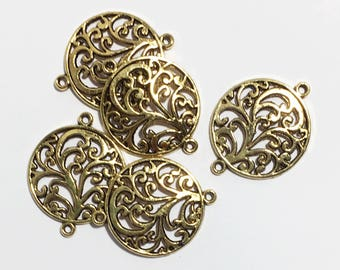 10 pcs  Antique gold plated  Tree of life connector, zinc alloy connector, bulk antique gold flat round connector 25x31mm