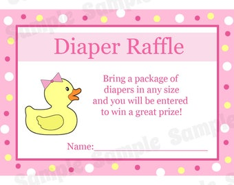 24 Baby Shower Diaper Raffle Cards - Rubber Ducky - Pink - Pink Duck Baby Shower