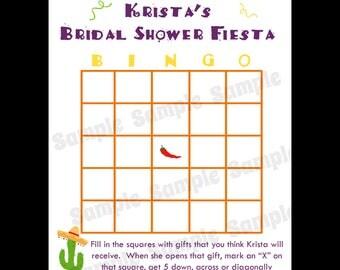 24 Personalized Bridal Shower Bingo Game Cards - Fiesta Bridal Shower