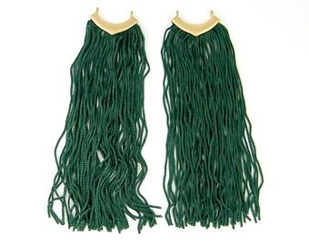 Extra Long Green Fringe Earring Findings Tassel Earring Fiber Long Dangle Silky Fringe Jewelry Craft Supply Component |LG5-8|2
