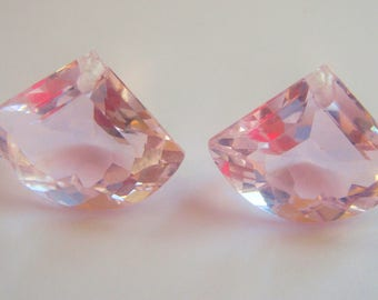 Pair of Large Fan cut Pink Quartz Briolettes  17mm x 22mm  Focal semi precious gemstone beads