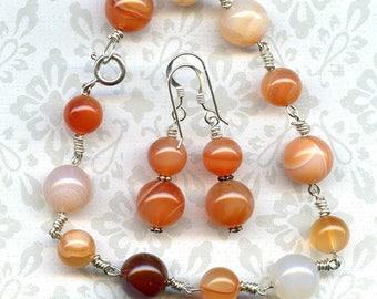 Carnelian Sterling Silver Bracelet and Earrings