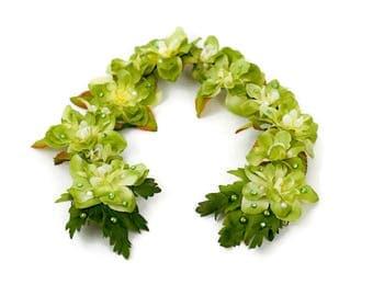 Adjustable Green Flower Tiara Crown