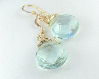 Aqua Earrings, Gold Dangle Earrings, Small Gold Earrings, Aqua Glass Earrings, Blue Drop Earrings, Light Blue Drop by Maggie McMane Designs