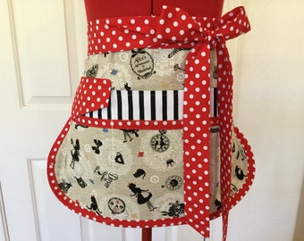 Sassy Girl's Story Alice Vendor Apron, Half Apron, 6/8 pockets, Womens Aprons for Gardening, Utility, Crafts,Teachers, Alice in Wonderland