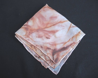 New Rusty square small hanky  - 28cm or 11 inches approx scarf or handkerchief in umber brown shades hand dyed OOAK unique ready to ship