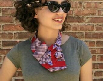 Ascot Tie - Necktie Necklace - Necktie Scarf - Red Vintage Scarf - Neckerchief - Work Wear - Vintage Red Tie. 49