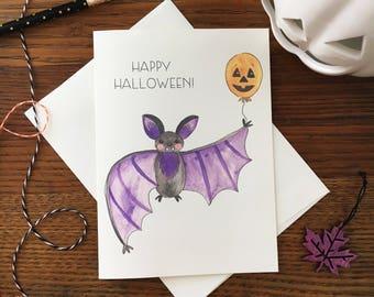 Halloween Bat Card. Happy halloween. Kids Halloween Card. Pumpkin Card. Cute Bat. Animal Card. Blank Card. Card for Friend. Fall Card