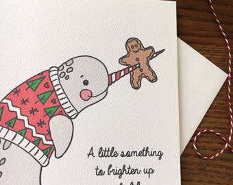 Narwhal Card. Narwhal Christmas Card. Christmas Sweater Card. Set of 10 Cards. Blank Card. Non-Religious Xmas Card. Holiday Card