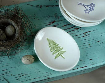 Small Oval Dish with Green Fern, Ring Dish with Green Fern, Woodland Ring Dish, Trinket Dish with Fern