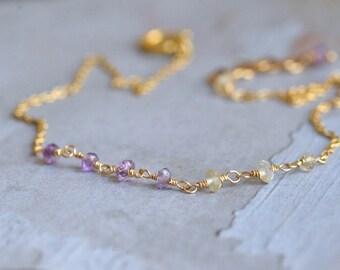 14kt Gold Ametrine Bracelet - Dainty Gold Bracelet - Amethyst Bracelet - Minimalist Bracelet - Citrine Bracelet - Yellow Purple Bracelet