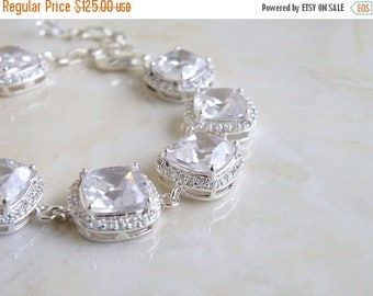 Summer Sale Bridal Bracelet Cushion CZ Halo Rhinestone Silver IBC1