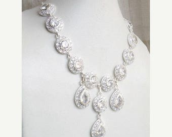 Summer Sale Bridal Necklace White CZ Sterling Silver CNN1