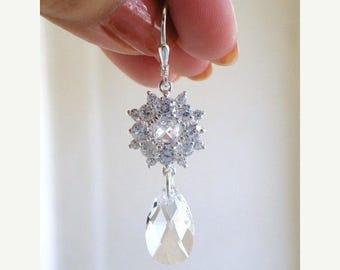 Summer Sale Bridal Earrings Swarovski Crystal Cushion CZ Silver IE8