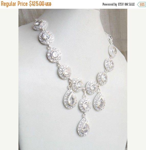 Summer Sale Bridal Necklace White CZ Sterling Silver CNN1