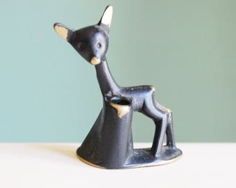 Vintage Walter Bosse Modernist Austrian 1960s Deer Figurine Candle Holder Brass