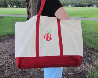 "Large 25"" Monogrammed Apple Tote Bag  Monogram Teacher Appreciation Tote Bag  Teacher Tote Bag , Monogram Tote Bag, Teacher Tote Gift Bag"