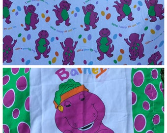 Vintage 1990's Era Barney the Dinosaur Twin Flat Sheet and Pillowcase