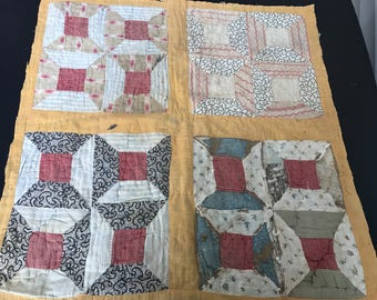 Vintage Hand Quilted Well Worn and Well Loved Early Spool Pattern Olc Calicos Cutter Quilt Piece Set in Mustard