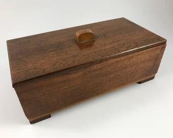 Vintage 1940's Era Wooden Trinket Box/Jewelry Box with Lid